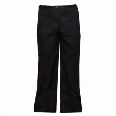 Брюки женские льняные с поясом, черные (40-1-047)
