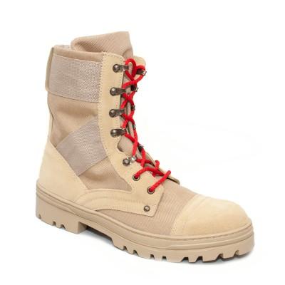 Берцы бежевые с красными шнурками (24-1-001)