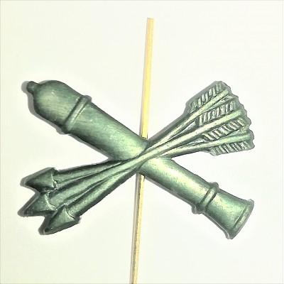 Петличный знак ПВО (пушка и 3 стрелы), защитная (5-2-043)
