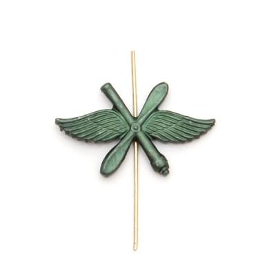 Петличный знак ВВС (крылья, пропеллер и зенитная пушка), защитный (5-2-024)