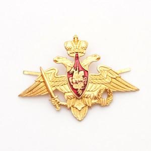 Эмблема на тулью ВС РФ нового образца большая пластмассовая (h -4,6 см) , золотая (ТУ 2015 г) (5-1-030)