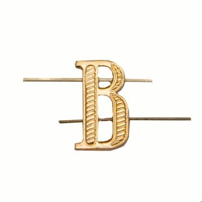 """Буква """"В"""" металлическая, золотая (5-5-013)"""