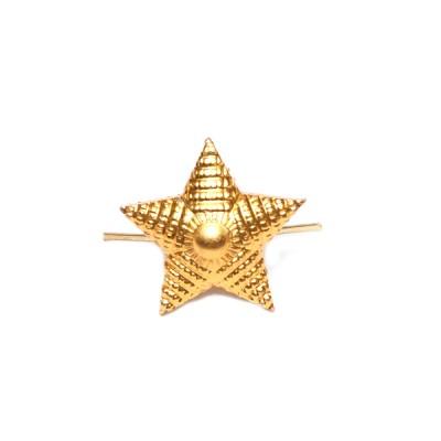 Звезда металлическая 13мм (Полиция, МО нового образца, Росгвардия), рифленая, золотая (5-5-021)