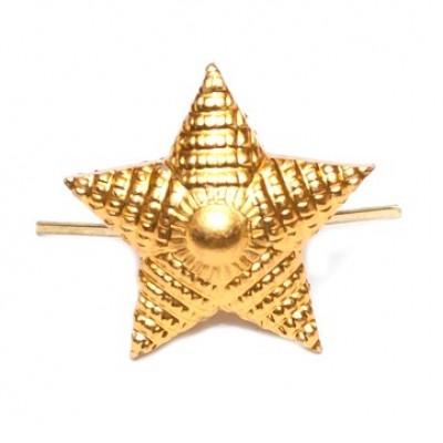 Звезда металлическая 20 мм, рифленая, золотая (5-5-019)