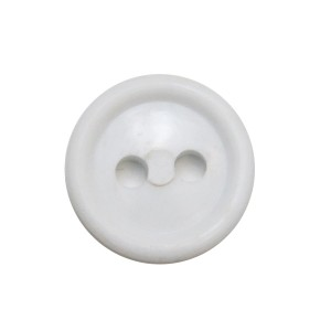 Пуговица малая с 2-я проколами, белая (5-4-009)