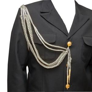 Аксельбант офицерский с 2-я наконечниками, серебряный (6-1-010)
