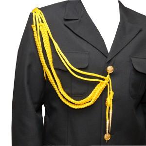 Аксельбант офицерский с 2-я наконечниками, желтый (6-1-008)