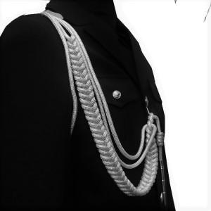 Аксельбант офицерский с одним наконечником, серебряный (6-1-011)