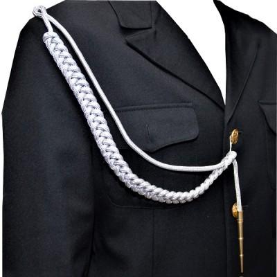 Аксельбант солдатский с 1 наконечником, белый с серебряной нитью (6-1-004)