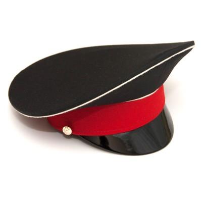Фуражка черная с белым кантом и красным околышем (2-1-002)