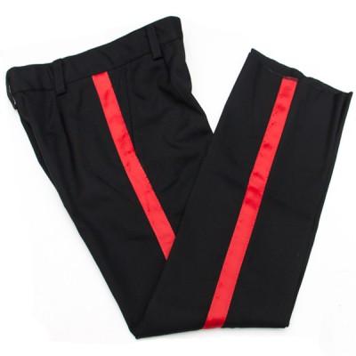 Брюки п/ш, черные с красными лампасами, тесьма 2 см (1-4-007)