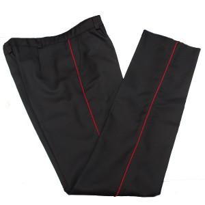 Брюки п/ш, черные с красным кантом (1-4-009)