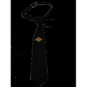 Галстук-регат с вышивкой Орел РА, укороченный, черный (1-11-010)