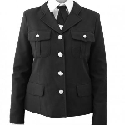 Жакет п/ш женский с нагрудными карманами, черный (1-1-004)
