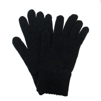 Перчатки кадетские вязанные п/ш двойные, черные (1-12-003)