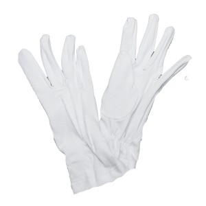 Перчатки х/б парадные с цвикелем, белые (1-12-001)