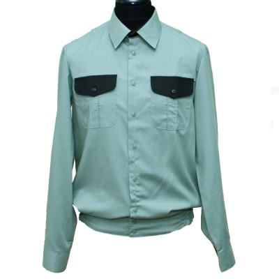 Рубашка форменная с длинными рукавами, оливковая с черными вставками на клапанах (1-6-003)