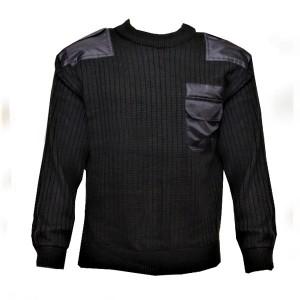 Свитер п/ш форменный, черный со вставками (1-8-002)