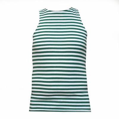 Майка-тельняшка без рукавов, бело-зеленые полосы (1-9-004)