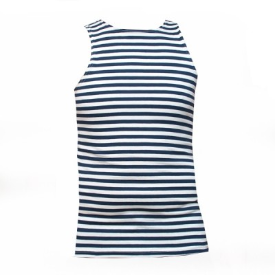 Майка-тельняшка без рукавов, сине-белые полосы (1-9-016)