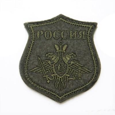 """Нарукавный знак """"Герб Россия"""", вышивка, на липучке, оливковый (7-2-012)"""