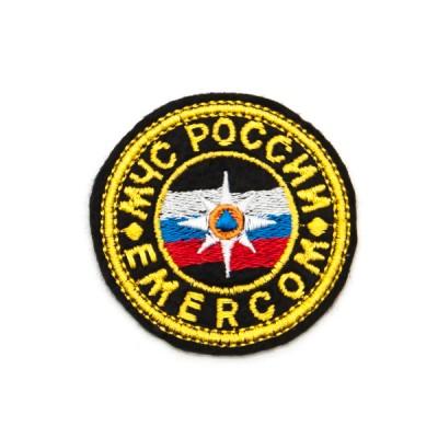 Нарукавный знак МЧС России, EMERCOM, круглый, большой, вышивка (7-2-043)