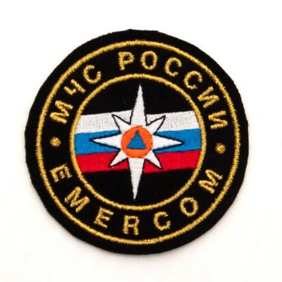 Нарукавный знак МЧС России, EMERCOM, круглый, малый, вышивка (7-2-031)