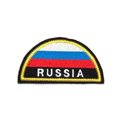 Нарукавный знак МЧС RUSSIA полукруг, триколор, вышивка (7-2-029)