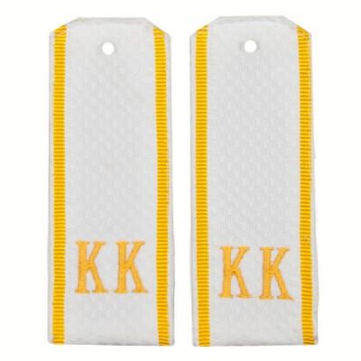 Погоны КК, рифленая ткань, вышивка, белые, желтый просвет (7-1-025)