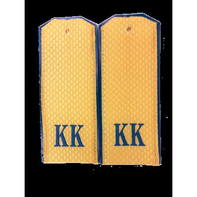 Погоны КК рифленые бежевые на пластике, синяя пластизоль (7-1-059)