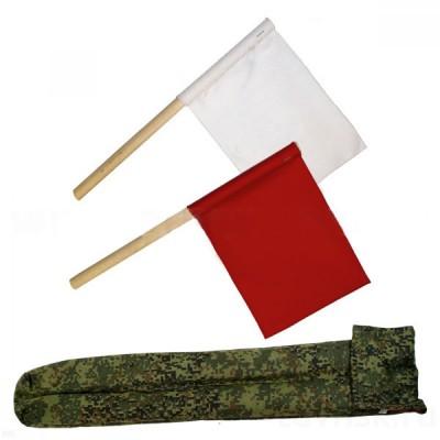 Флажки сигнальные в чехле (красный с белым или желтым) (8-1-096)